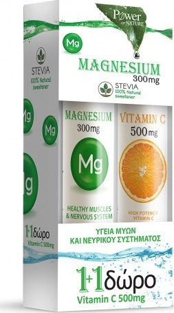 POWER HEALTH Magnesium 300mg & Vitamin C 500mg with Stevia 20 + 20 αναβράζοντα δισκία