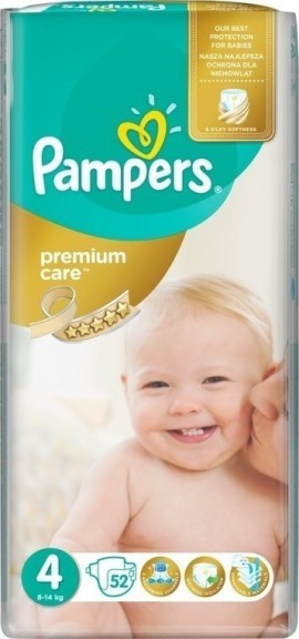 Pampers Premium Care No 4 (9-14 kg) 52 piezas