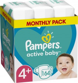 PAMPERS Active Baby No4 + (10-15kg) 164st