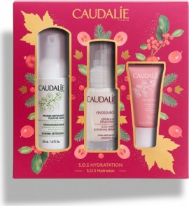 CAUDALIE Vinosource Serum Sos 30ml, Instant Foaming Cleanser 50ml & Moisturizing Sorbet Cream 15ml