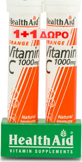 HEALTH AID Vitamin C 1000mg 2 x 20 effervescent tablets Orange