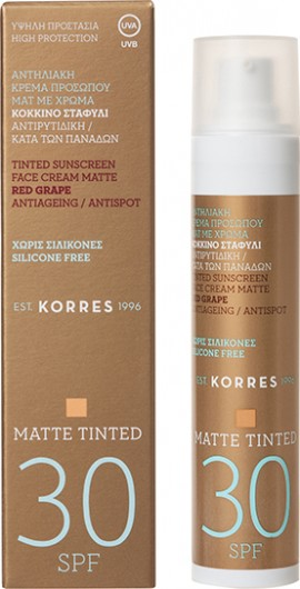 Korres Tinted Sunscreen Face Cream Matte Red Grape SPF30 50ml
