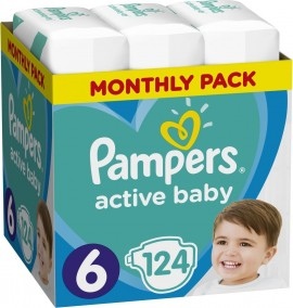 Pampers Active Baby  No6 (13-18Kg) 124 τμχ