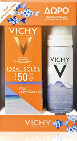 Vichy Ideal Soleil Mattifying Face Fluid Dry Touch SPF50 50ml & Eau Thermale Spray 50ml