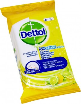 DETTOL Power & Fresh Advance Desinfectante de limón y lima 40 toallitas