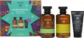 APIVITA Tonic Mountain Tea Shower Gel 250ml, & Gentle Daily Shampoo Chamomile 250ml & Black Cleansing Gel 50ml