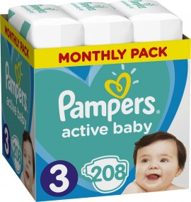 Pampers Active Baby  Monthly Box No 3 ( 6-10Kg) 208 τμχ