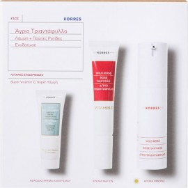 KORRES Wild Rose Fat Day Cream 30ml & Eye Cream 15ml & Olympus Tea Foaming Cleansing Cream 16ml