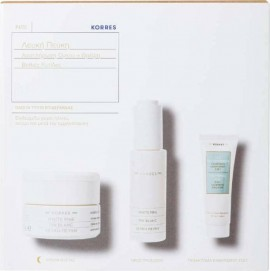 KORRES White Pine Night Cream 40ml, White Pine Volume Refill Serum 30ml & Olympus Tea Cleansing Emulsion 3 In 1 16ml