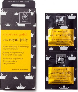 APIVITA Express Gold Tightening and Regenerating Mask with Royal Jelly 2x8ml