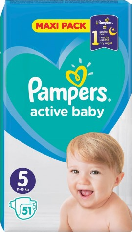Pampers Active Baby Maxi Pack No 5 (11-16kg) 51pcs