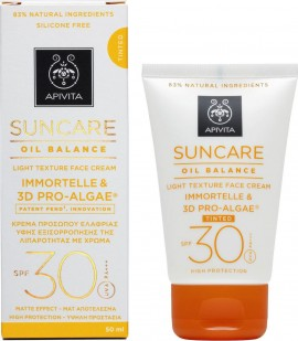 Apivita Suncare Light Texture Face Cream Tinted Immortelle & 3D Pro-Algae SPF30 50ml