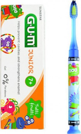 GUM Set Junior Light-Up Blue Soft Toothbrush & Junior Toothpaste 7-12 Years Tutti Frutti 50ml