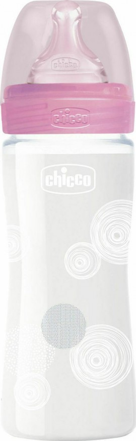 CHICCO Glass Well Being 0m + Rosa 240ml