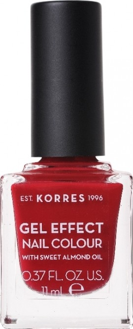 KORRES Gel Effect Nail Color 56 Celebration Red Nail Polish Absolute Shine & Durability, with Almond Oil 11ml