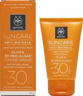 Apivita Suncare Anti-Wrinkle Face Cream Olive & 3D Pro-Algae SPF30 50ml