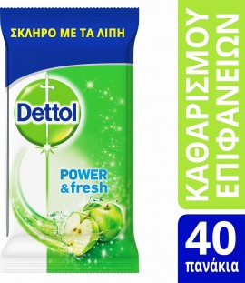 DETTOL Power & Fresh Green Apple Desinfectante 40 toallitas