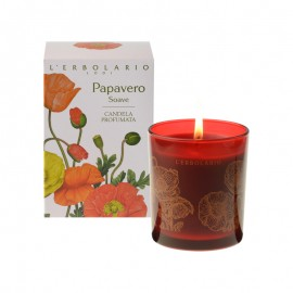 LERBOLARIO PAPAVERO Soave Candela Porfumata - Aromatic Candle with Notes By: Poppy Petals Davala Delle Indie Jasmine Of Water Prunella